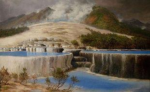 Le lac Rotomahana, peint par Charles Blomfield en 1903 (domaine public).