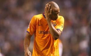 FC Barcelona´s player French Thierry Henry reacts at the end of the match against Deportivo Coruna during a Spanish league football match at the Riazor Stadium on April 26, 2008 in Coruna. Deportivo won the match 2-0. AFP PHOTO / MIGUEL RIOPA
