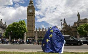 Un manifestant opposé à une sortie du Royaume-Uni de l'UE drapé dans le drapeau de européen, le 25 juin 2016 à Londres