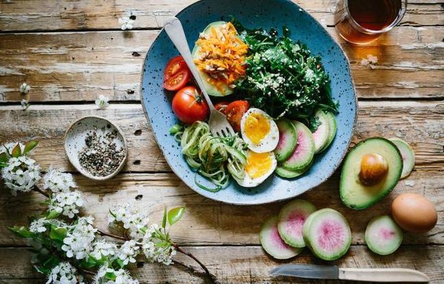 Repas équilibré composé de légumes, fruits et d'oeuf