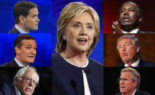 Les candidats à la présidentielle américaine: Marco Rubio, Ted Cruz et Bernie Sanders (gauche), Hillary Clinton (centre) et Ben Carson, Donald Trump et Jeb Bush (droite)