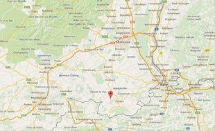 Capture d'écran de Google map de Mœrnach, au sud de Mulhouse.