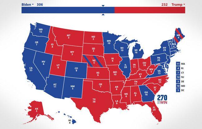 648x415 carte presidentielle americaine selon projections medias americains 13 novembre 2020