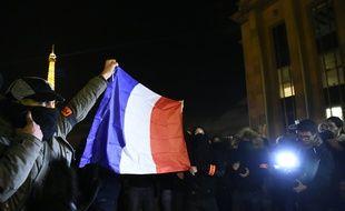 Manifestation de policiers au Trocadéro, à Paris, le 20 octobre 2016.
