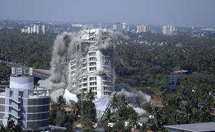 Deux immeubles ont été détruits dans le sud de l'Inde, samedi 11 janvier.