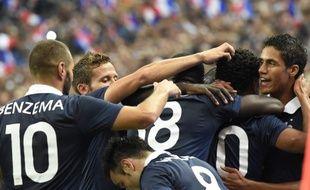 La joie des Bleus après le but victorieux de Loïc Rémy lors du match amical France-Espagne (1-0), le 4 septembre 2014, au Stade de France.