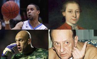 Photomontage de personnages célèbres atteints du syndrome de Gilles de la Tourette.