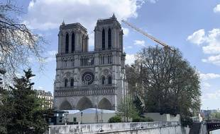 Le chantier de reconstruction de la cathédrale Notre-Dame, ici le 9 avril 2020.