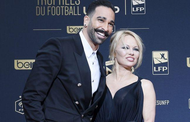 Adil Rami et Pamela Anderson à la cérémonie des Trophées de l'UNFP, en mai 2019, à Paris.