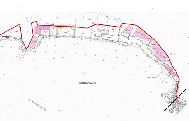 Les constructions en rose représentent les cabanons qui sont désormais compris dans le domaine maritime public décidé par arrêté préfectoral en octobre 2019, représenté, ici par le trait rouge.