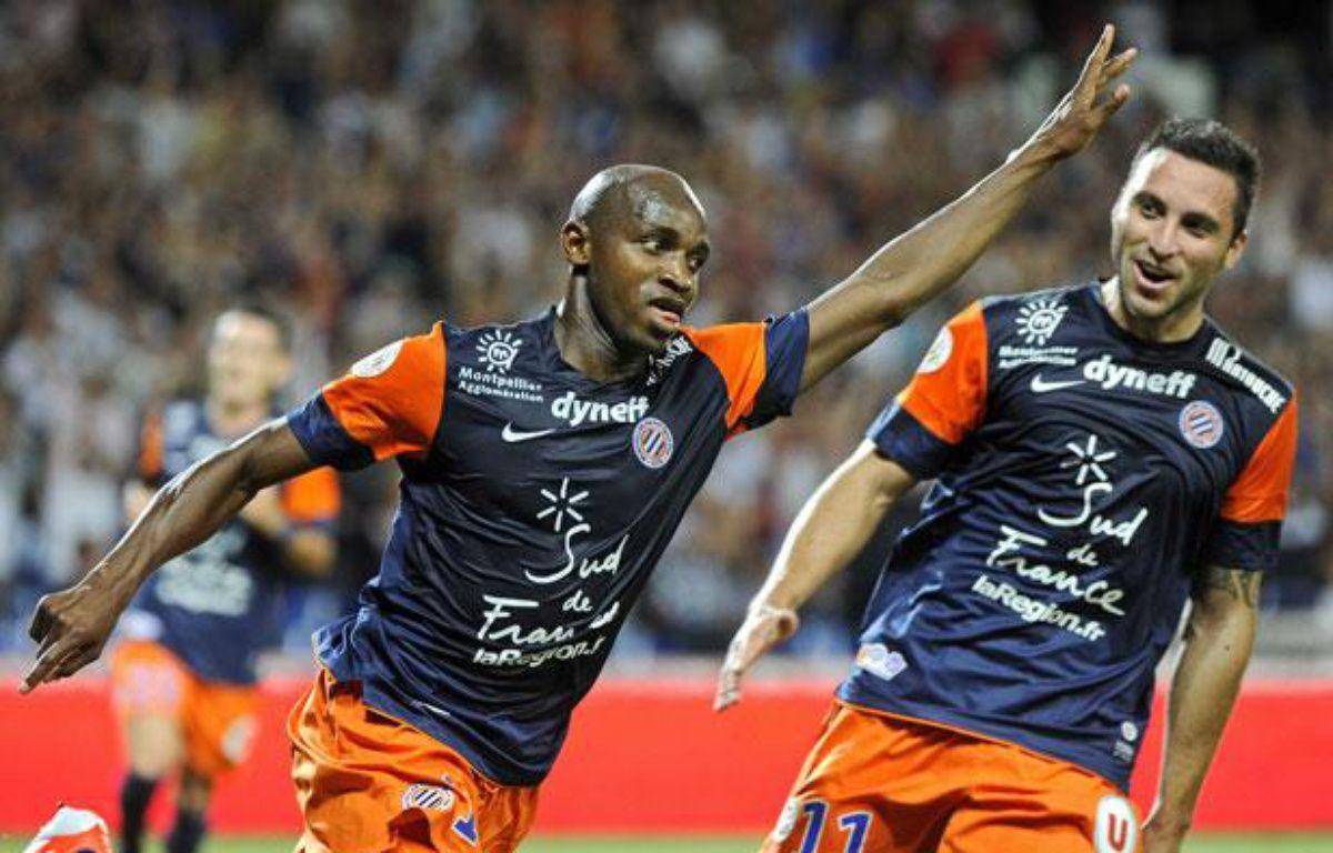 Camara et Herrera fêtent un but contre Toulouse, le 10 août 2012 au stade de la Mosson. – DAMOURETTE/SIPA