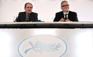 Thierry Frémaux (à d.), en compagnie du président du Festival de Cannes, Pierre Lescure.