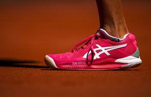 Une chaussure d'Iga Swiatek lors de son match du premier tour à Roland-Garros, Paris, le 31mai 2021.