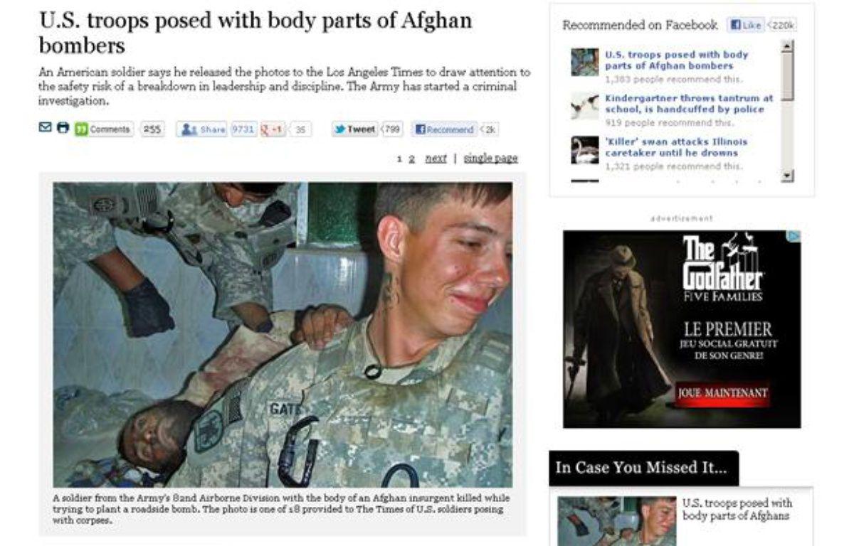 Capture d'écran du site Internet du Los Angeles Times présentant des photos choquantes de soldats américains en Afghanistan. – 20minutes.fr