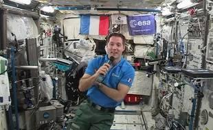 L'astronaute français, Thomas Pesquet en interview avec l'AFP depuis l'ISS, le 30 mai 2017.