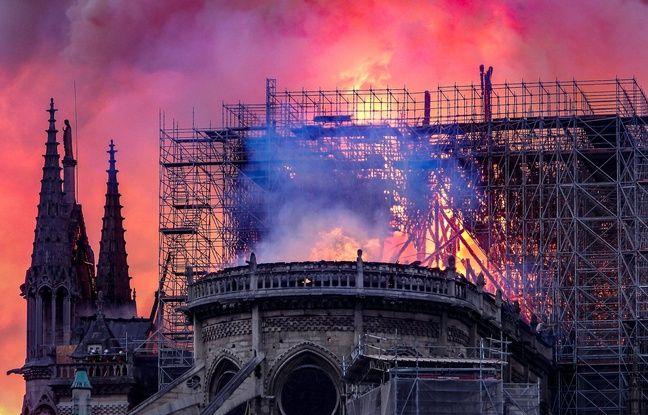 La cathédrale de Notre-Dame de Paris en flammes, le 15 avril 2019.