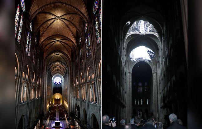 Image avant/après l'incendie de la voûte de Notre-Dame (la photo de gauche est prise du fond de la cathédrale, et celle de droite, du devant).