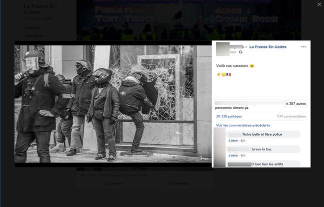 Ce post Facebook qui accuse ces policiers d'être des «casseurs» a été partagé 20.000 fois en 24 heures sur Facebook.