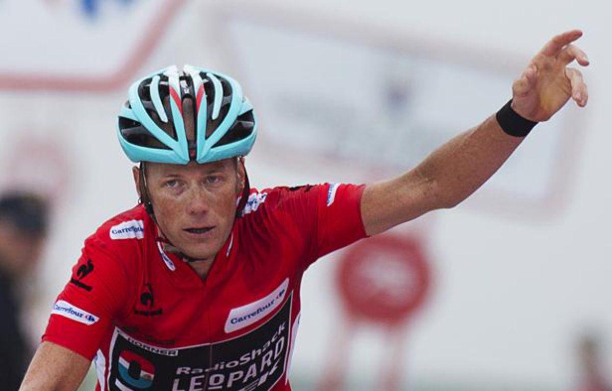 Le coureur américain Chris Horner, lors de sa deuxième place au sommet de l'Angliru, le samedi 14 septembre 2013 lors de la Vuelta. – J.Reina/AFP