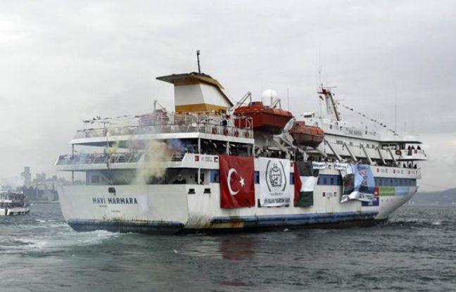 Le navire turc Mavi Marmara, qui transporte des activistes pro-Palestiniens et de l'aide huanitaire vers Gaza, à son départ d'Istanbul, le 22 mai 2010.