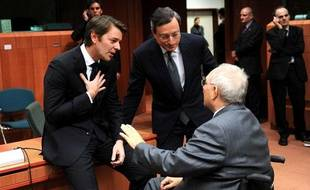 Baroin, Draghi et Schaüble en pleine discussion