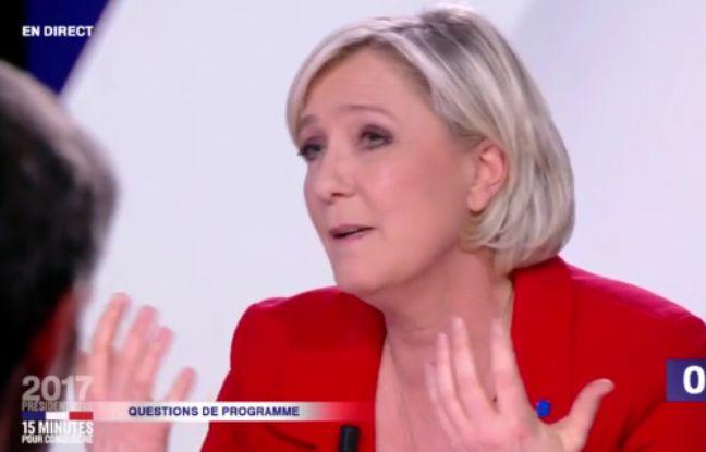 Marine Le Pen, sur le plateau de « 15 minutes pour convaincre », le dernier grand rendez-vous des onze candidats avant l'élection, le 20 avril 2017.