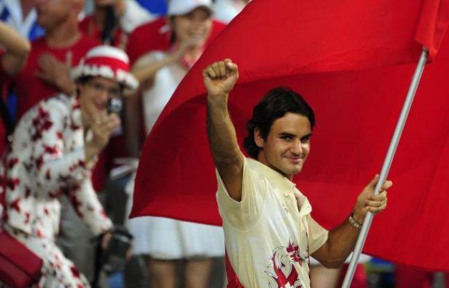 Le tennisman suisse Roger Federer, lors de la cérémonie d'ouverture des Jeux de Pékin, le 8 août 2008.