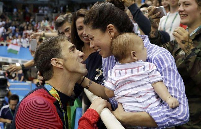 Michael Phelps avec sa fiancée Nicole Johnson et leur bébé Boomer.