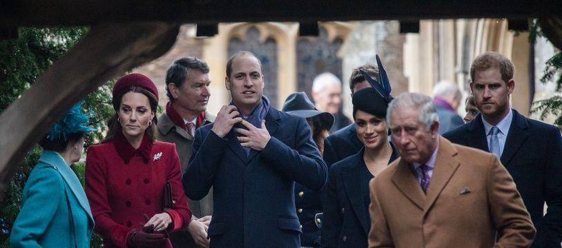 La princesse Anne, Kate Middleton, le prince William, Meghan Markle, le prince Charles et le prince Harry.