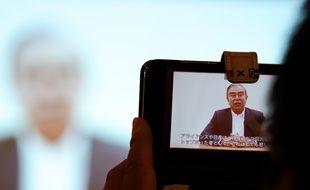 Une vidéo de Carlos Ghosn diffusée lors d'une conférence de presse à Tokyo, le 9 avril 2019.