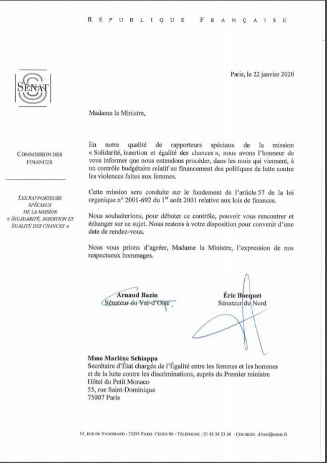 Courrier des sénateurs Bocquet et Bazin en date du 22 janvier.