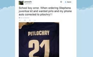 Le compte twitter du fan de la Juventus de Turin piégé par son smartphone.