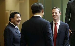 Lu Wei, ici en 2015 avec le président Xi Jinping et Mark Zuckerberg, est poursuivi pour corruption.