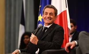 Former French President Nicolas Sarkozy who is a candidate for the leadership of the opposition rightist UMP party answers questions in the salle Jean Mermoz. On the stage is between Laurence Arribage deputy and Jean Luc Moudenc Mayor of Toulouse. Toulouse, FRANCE-8/10/14/SCHEIBER_822.34/Credit:FRED SCHEIBER/SIPA/SIPA/1410090837