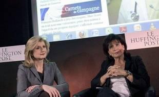 Ariana Huffington (à gauche) et Anne Sinclair ont lancé la version du Huffington Post ce lundi 23 janvier 2012.