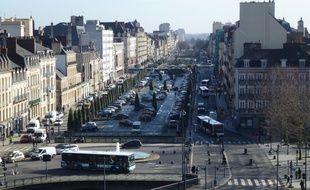 Vue du centre-ville de Rennes depuis l'immeuble Cap Mail signé Jean Nouvel.