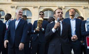 Emmanuel Macron a reçu les vainqueurs de la Coupe du Monde à l'Elysée lundi 16 juillet.