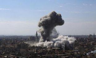 Bombardement de l'armée syrienne à Douma près de Damas, le 5 février 2015