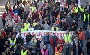 Des employés de la Seita manifestent à Nantes le 14 octobre 2014