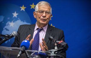 Le chef des Affaires étrangères de l'Union européenne, Josep Borrell, s'adresse à la presse, le lundi 20 septembre 2021, à New York.