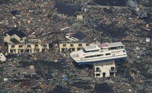 La ville d'Otsuchi, Au Japon, après le passage du tsunami, le 13 mars 2011.