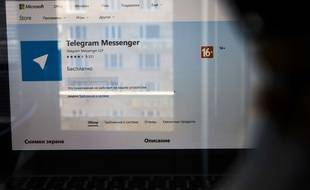 Le site de l'application Telegram sur un écran d'ordinateur en Russie le 13 avril 2018.