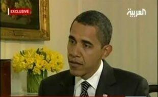 Le président Barack Obama lors d'une interview télévisée à al-Arabiya diffusée le 26 janvier 2009.