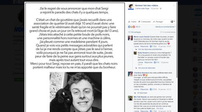Post de Norman annonçant la mort de son chat Sergi. – Facebook