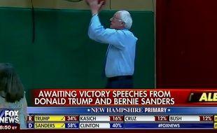 Bernie Sanders s'exerce au basket dans l'attente des résultats, sans pression.