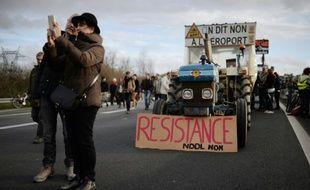 Des opposants au projet d'aéroport de Notre-dame-des-Lanes en route vers Nantes, le 9 janvier 2015.