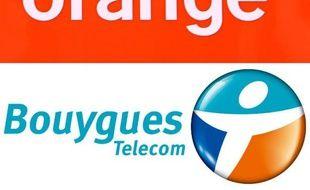 Les logos des opérateurs Orange et de Bouygues Telecom