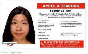 La police du Bas-Rhin a diffusé un appel à témoins ce mardi après la disparition inquiétante d'une jeune femme partie visiter un appartement quatre jours plus tôt.