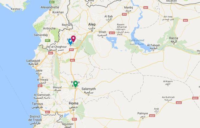 Carte de localisation d'Idleb (bleu), de Foua (en rouge) et de Hama (en vert).