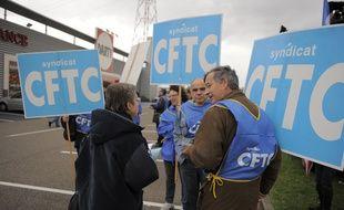 Une manifestation de la CFTC le 11 novembre 2018 à Lampertheim (Bas-Rhin).